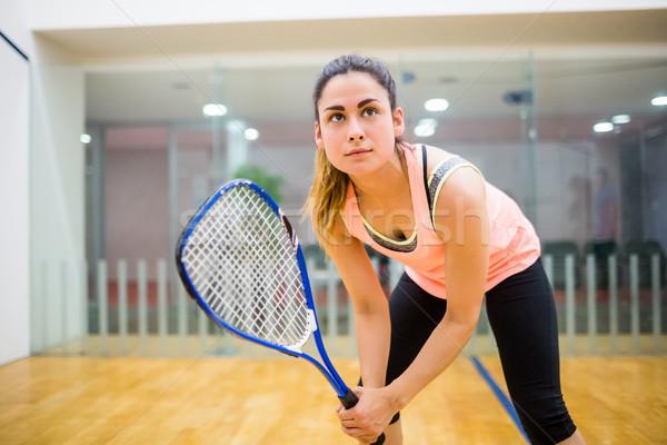 Stock fotó: Nő · buzgó · játék · fallabda · bíróság · sport