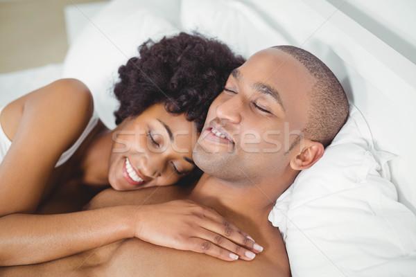 Friedlich Paar Bett home Frau glücklich Stock foto © wavebreak_media