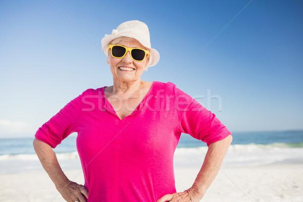 портрет улыбаясь старший женщину пляж Сток-фото © wavebreak_media