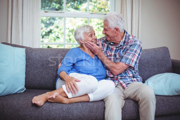 Romantyczny starszy człowiek dotknąć żona policzki Zdjęcia stock © wavebreak_media