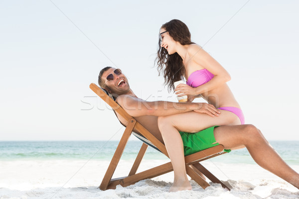 Fidanzata sole crema fidanzato spiaggia Foto d'archivio © wavebreak_media