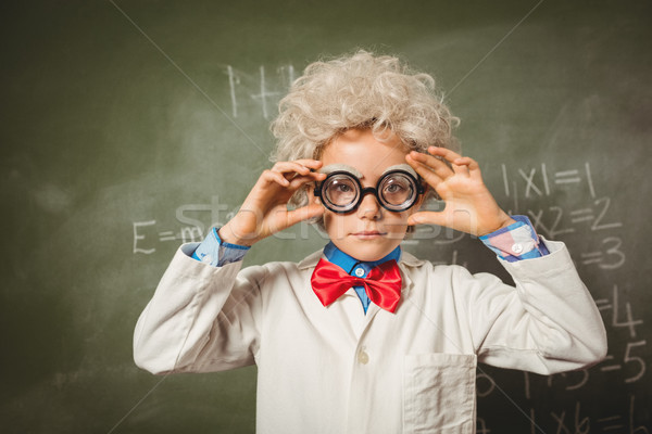Stockfoto: Jongen · permanente · Blackboard · school · meisje · kind