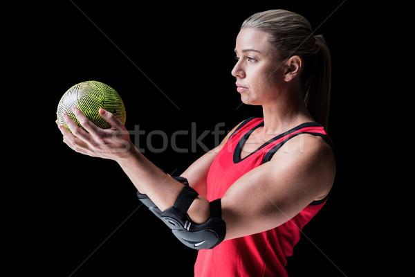 Vrouwelijke atleet elleboog handbal zwarte Stockfoto © wavebreak_media