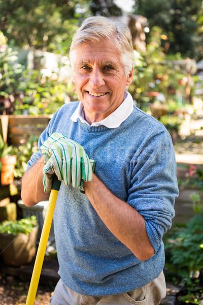 Portré boldog kertész szerszám kert érett Stock fotó © wavebreak_media