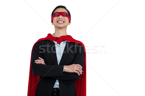 Kadın süper kahraman beyaz mutlu eğlence top Stok fotoğraf © wavebreak_media