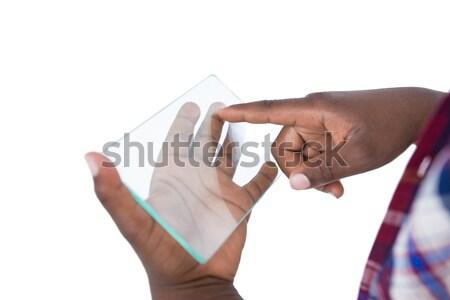 Kéz futurisztikus mobiltelefon fehér sport technológia Stock fotó © wavebreak_media