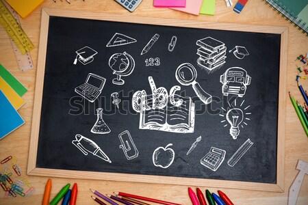 Libri desk organizzatore mela tavolo in legno blu Foto d'archivio © wavebreak_media