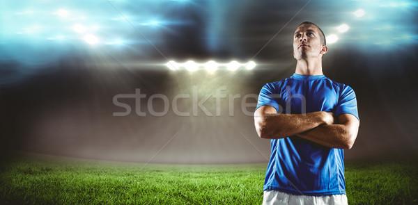 Foto stock: Imagen · grave · rugby · jugador