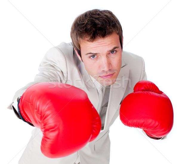 Konkurencyjny biznesmen konkurencja biały strony człowiek Zdjęcia stock © wavebreak_media
