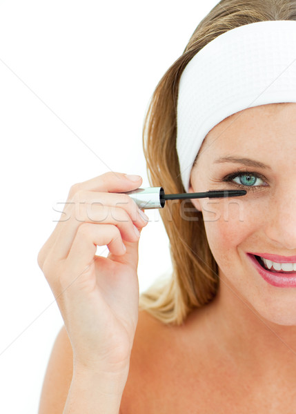 Jonge vrouw mascara witte vrouw meisje oog Stockfoto © wavebreak_media