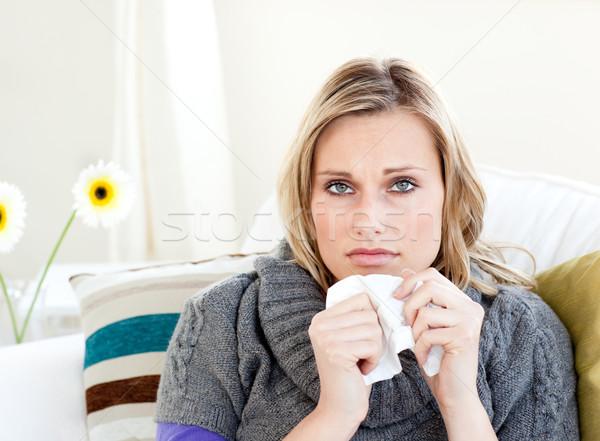 нездоровый женщину сидят диван носовой платок более Сток-фото © wavebreak_media