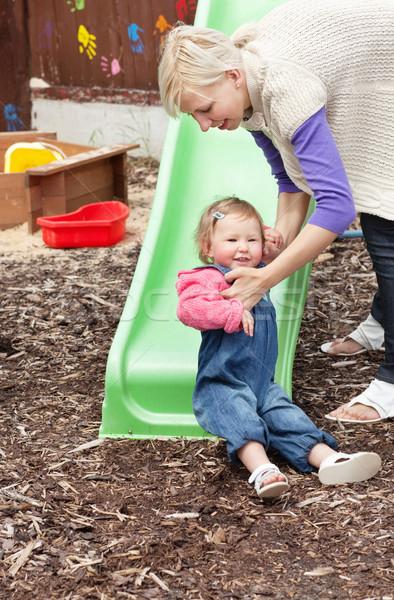 女の子 ブロンド 母親 遊び場 家族 ストックフォト © wavebreak_media