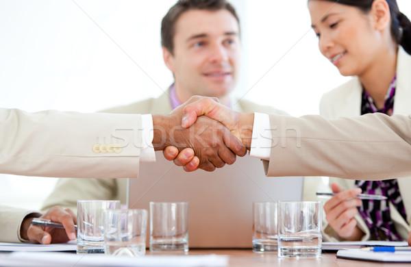 два деловые люди приветствие другой заседание Сток-фото © wavebreak_media