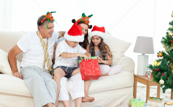 Family on Christmas day looking at their presents at home Stock photo © wavebreak_media