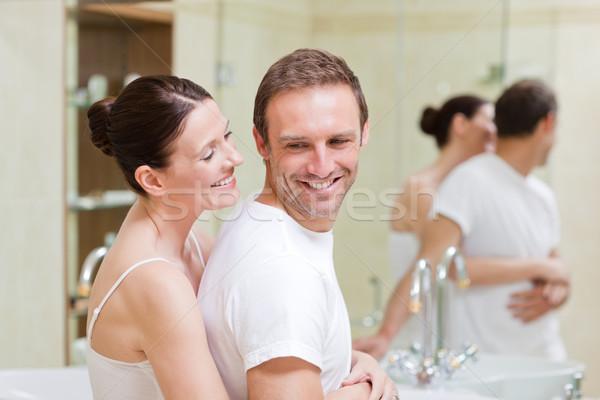 пару ванную любви зеркало белье Сток-фото © wavebreak_media