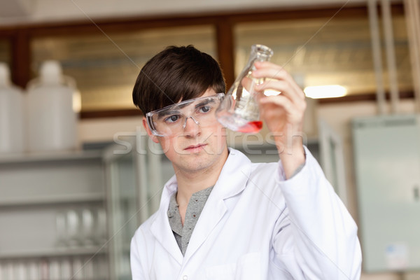 Scientist looking at a liquid in an Erlenmeyer flask in a laboratory Stock photo © wavebreak_media