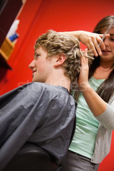 Retrato sério mulher cabelo tesoura Foto stock © wavebreak_media