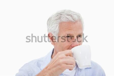 Olgun adam içme çay beyaz kahve moda Stok fotoğraf © wavebreak_media