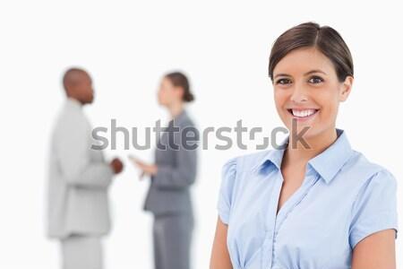 улыбаясь деловая женщина коллеги за белый Сток-фото © wavebreak_media