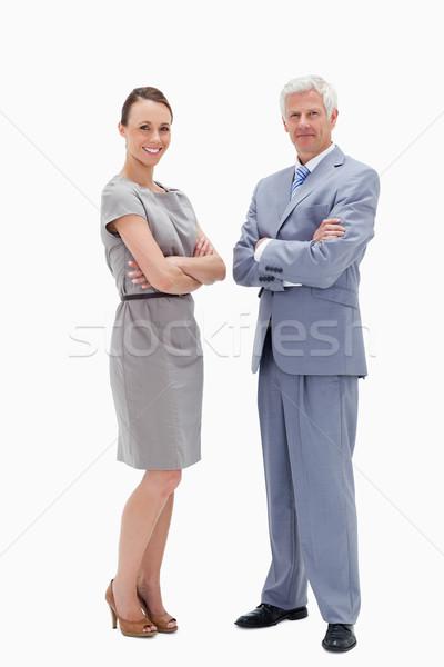 белые волосы человека женщину оружия улыбаясь Сток-фото © wavebreak_media