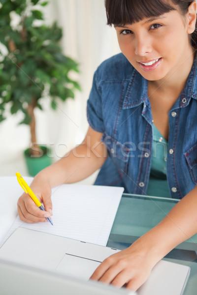 Portret cute glimlachend student huiswerk laptop Stockfoto © wavebreak_media