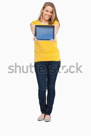 Blonde Frau lächelnd touch Bildschirm weiß Stock foto © wavebreak_media