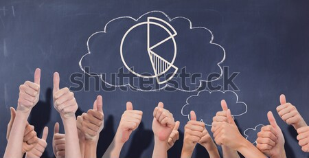 Hands up and thumbs raised against white background Stock photo © wavebreak_media