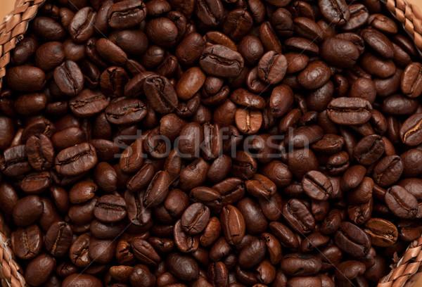 Extreme close up of a basket full of dark coffee beans Stock photo © wavebreak_media