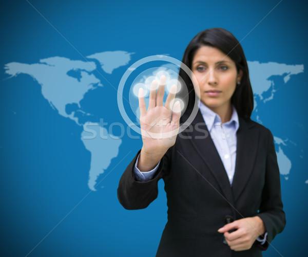 üzletasszony áll megérint holografikus képernyő kék Stock fotó © wavebreak_media