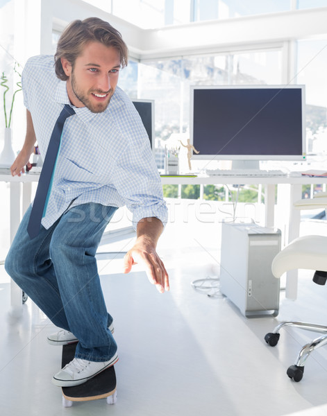 ストックフォト: 従業員 · スケート · オフィス · コンピュータ · キーボード