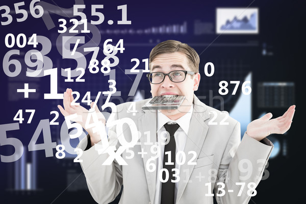Composite image of geeky shrugging businessman biting calculator Stock photo © wavebreak_media