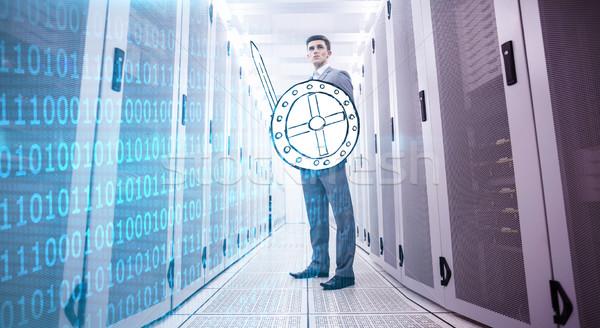 Imagen brillante azul código binario negro Foto stock © wavebreak_media