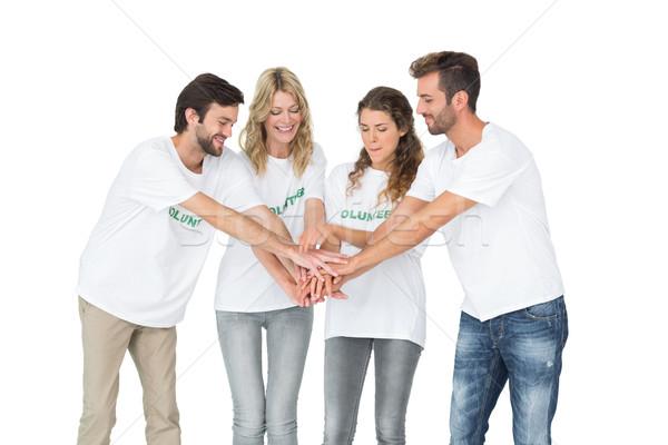 Grup mutlu eller birlikte beyaz Stok fotoğraf © wavebreak_media