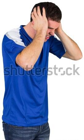 Decepcionado fútbol ventilador azul blanco hombre Foto stock © wavebreak_media