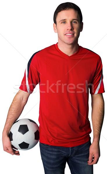 Piłka nożna fan czerwony piłka biały Zdjęcia stock © wavebreak_media