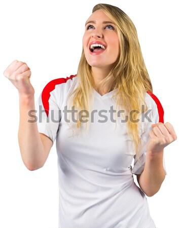 Pretty football fan in white cheering Stock photo © wavebreak_media