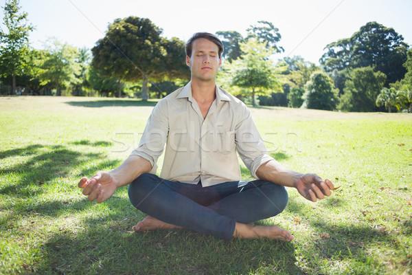 Elegante homem meditando parque sol Foto stock © wavebreak_media