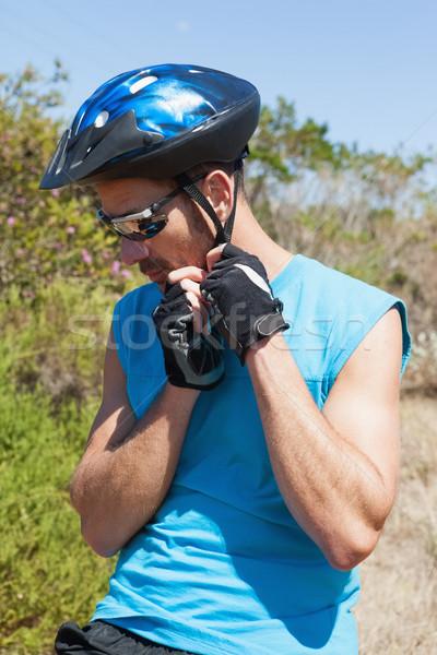 Geschikt fietser riem helm Stockfoto © wavebreak_media