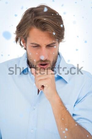 Feliz casual hombre pensando mano barbilla Foto stock © wavebreak_media