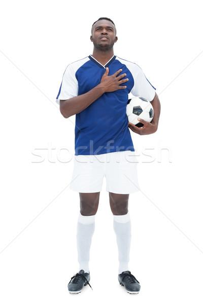 Futballista kék áll labda hallgat himnusz Stock fotó © wavebreak_media