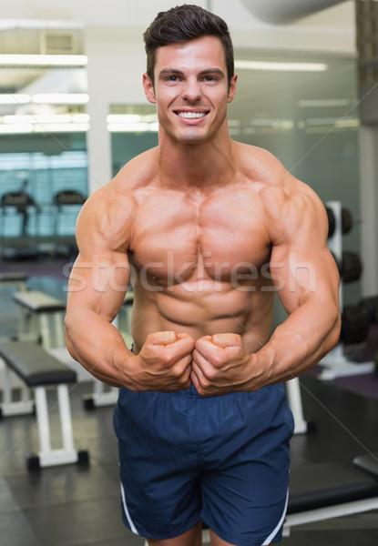 Shirtless gespierd man spieren gymnasium portret Stockfoto © wavebreak_media