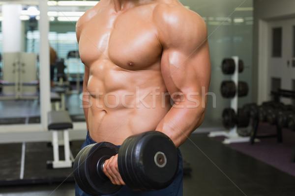 Középső rész póló nélkül izmos férfi testmozgás súlyzó Stock fotó © wavebreak_media