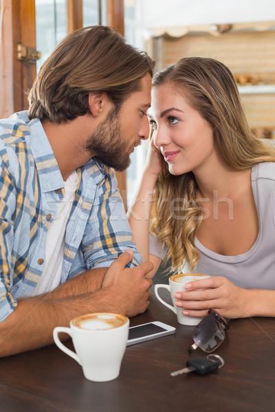 счастливым пару дата кофейня бизнеса любви Сток-фото © wavebreak_media