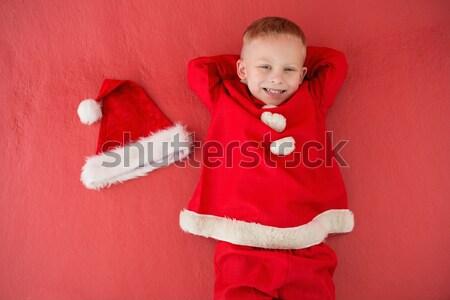 Mały chłopca Święty mikołaj kostium czerwony dziecko Zdjęcia stock © wavebreak_media