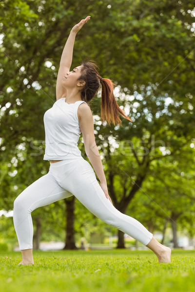 Toned woman doing stretching exercises in park Stock photo © wavebreak_media
