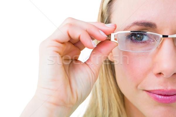 Güzel okuma gözlükleri beyaz kadın Stok fotoğraf © wavebreak_media
