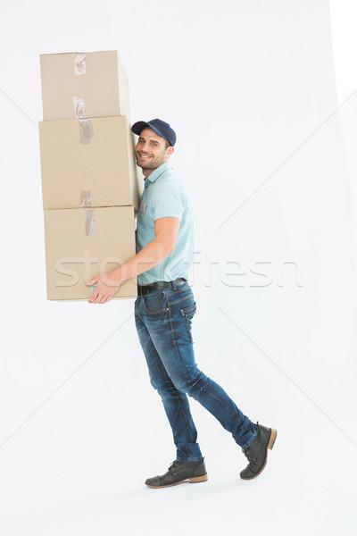 Stock foto: Tragen · Karton · Boxen · Porträt