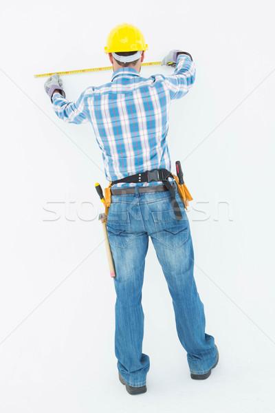 Zdjęcia stock: Widok · z · tyłu · pracownik · budowlany · biały · budowy