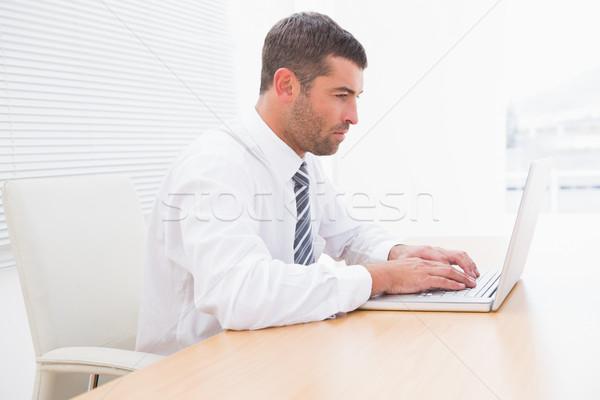 Zdjęcia stock: Poważny · biznesmen · pracy · biurko · biuro · komputera