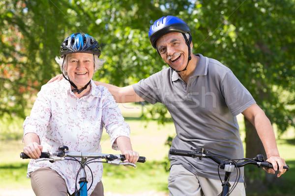 счастливым велосипедов женщину природы Сток-фото © wavebreak_media